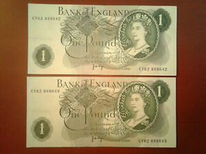 2x Great Britain 1 Pound Banknotes 1978 ND P 377a *F* Consecutive Serial #s $%