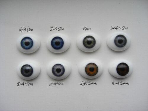 18mm FLAT BACK Glass Eyes REBORN/OOAK Baby DOLLS~Reborn Supplies~NEWBORN BLUE