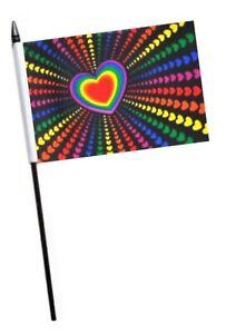 RAINBOW HAND WAVING FLAG 15CM x 10CM MINI FLAG LGBT PRIDE MARCH