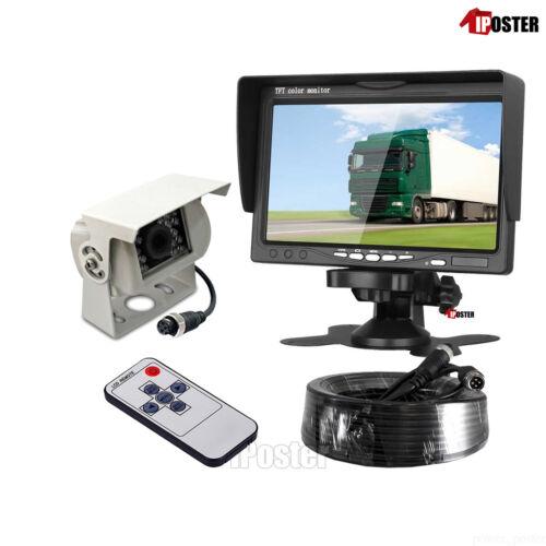 "Heavy Duty Rear View White IR CCD Reversing Camera+10M 12v 24v 7/"" 4Pin Monitor"