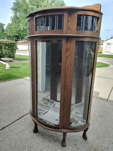 Image Is Loading Vintage Curio Cabinet Lighted Wood Cabinet