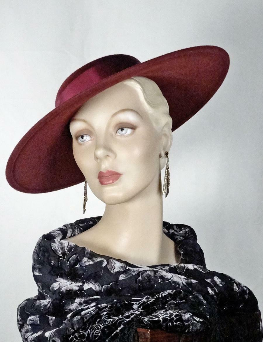 1930s 1940s Style Platter Hat Burgundy Wool Wide … - image 7