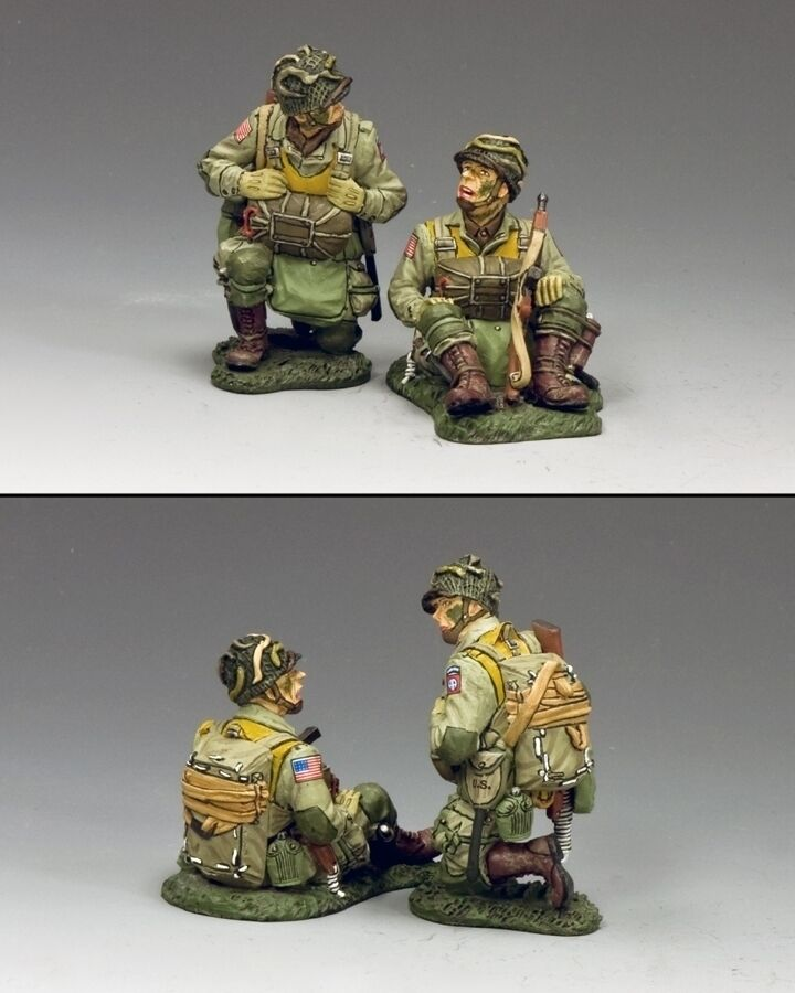 KING AND COUNTRY WW2 U.S. Kneeling and Sitting Sitting Paratroopers 82nd. D Day DD266-1