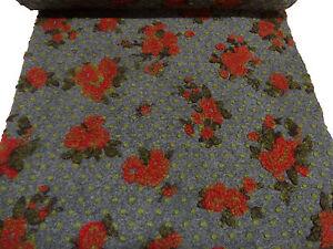 Stoffrest-16x150cm-Ital-Musterwalk-Walk-Relief-Blumen-Punkte-grau-rot-gruen-oliv
