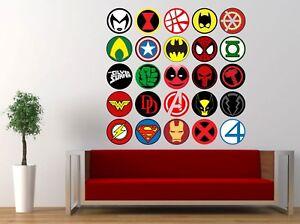 Superhero-logos-Superman-Spiderman-Batman-Flash-giant-wall-stickers-kit-decal