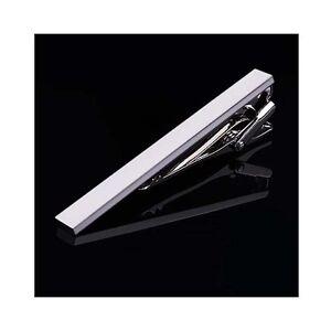 Simple-4-cm-Mens-Silver-Stainless-Steel-Skinny-Slim-Tie-Clip-Clasp-Bar-Wedding