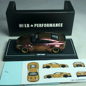 1-64-LB-Works-Liberty-Walk-Nissan-GTR-R35-Chameleon-Gold-Duck-Tail-with-Decal