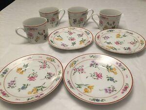 Georges-Briard-Floral-Fantasy-Set-4-Cups-amp-Saucers-China-Porcelain