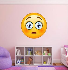 Shocked Emoji Wall Decal Funny Apple Iphone Emoticon Sticker - Emoji wall decals