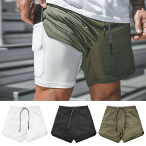 Details about UK Men's 2 in 1 with Phone Pocket Gym Running Shorts Sports Quick Dry Training