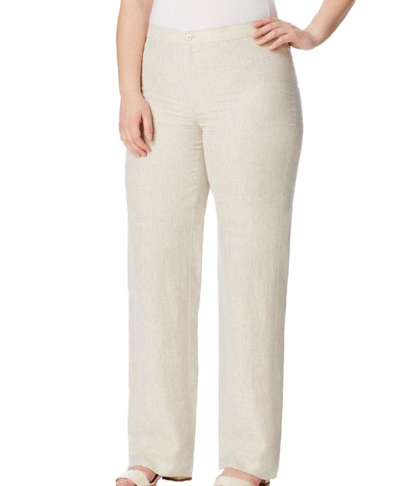 MARINA RINALDI Women's Beige Riccardo Original Straight Pants  240 NWT
