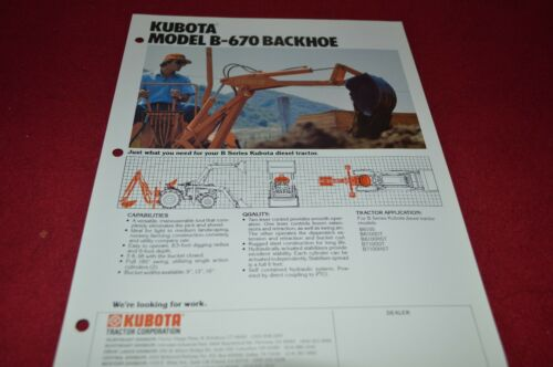 Kubota B-670 Backhoe Dealers Brochure DCPA2