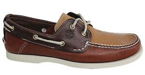 Détails sur Timberland 2 Œil Classique à Lacets Chaussures de Bateau pour Hommes Cuir Brun