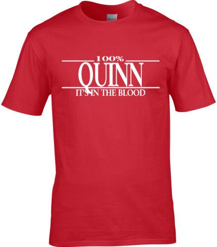 Quinn Surname Mens T-Shirt 100/% Gift Name Family Cool Fun