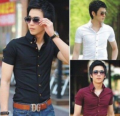 HOT Mens Fashion Stylish Dress Shirts Casual Luxury Slim Fit Short Sleeves Shirt