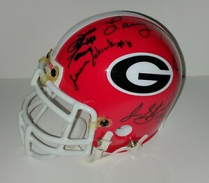 Larry Munson David Pollack David Greene Georgia Bulldogs Autographed Mini Helmet