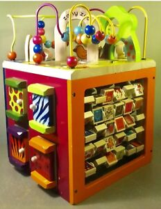 Details About B Zany Zoo Wooden Activity Cube Baby Toys Animals Colors Shapes Letters Toddler