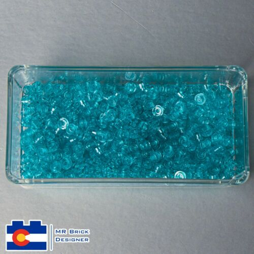 Lego Trans-Light Blue Plate 1X1 Round 500 Pieces NEW Water Dots Transparent