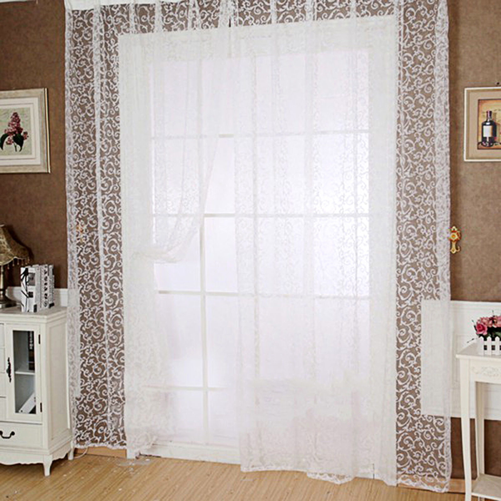 Modern Window Curtain With Flower Design: Modern Floral Tulle Voile Door Window Curtains Drape Panel