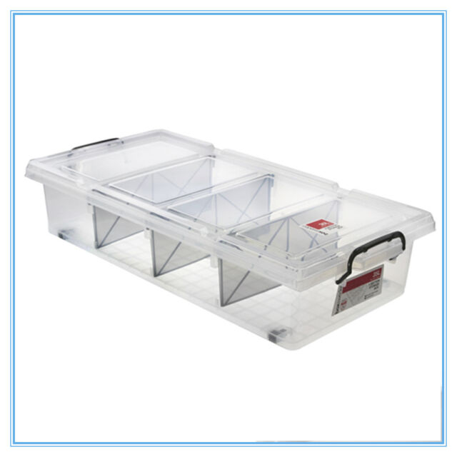 6 X Clear 35l Plastic Storage Boxes With Dividers Containers Bin