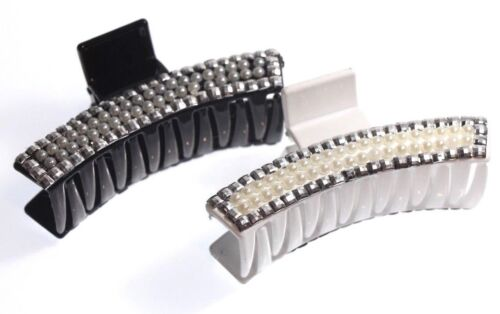 NEW CURVED DIAMANTE GLITTERY HAIR CLIP CLAW GRIP BUTTERFLY CLAMP 2 COLOURS