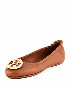 Tory Burch Minnie Travel Ballet  ROYAL TAN  BROWN GOLD NEW IN BOX