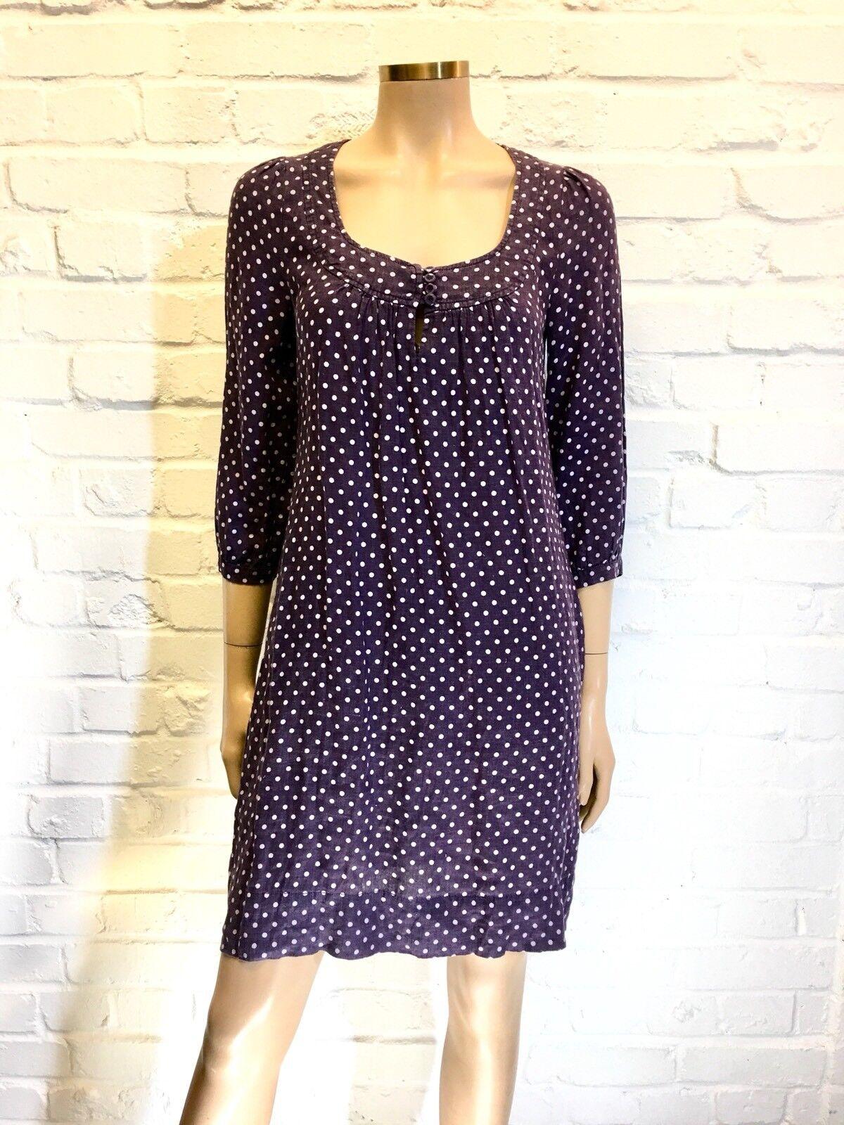 Whistles 100% Cotton Linen Lavender Polkadot Dress