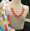 J-Crew-Neon-Persimmon-Bubble-Stone-Statement-Necklace-New-With-Tags thumbnail 1