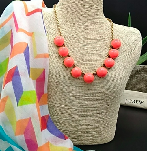 J. Crew Neon Persimmon Bubble Stone Statement Necklace New With Tags