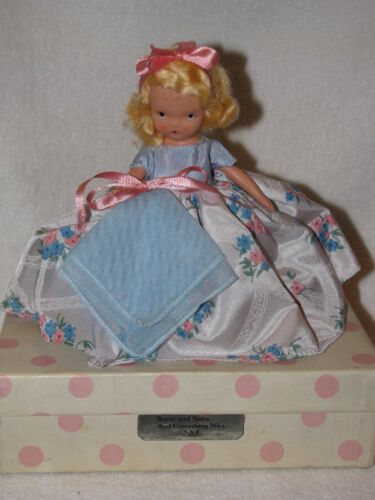 Vintage #182 Wednesday's Child Bisque NancyAnn Storybook Doll Pink Polka Dot Box