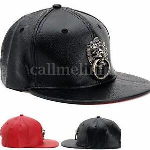 07b9c08969f UK Unisex Men Faux Leather Baseball Cap Bboy Hiphop Lion Adjustable ...