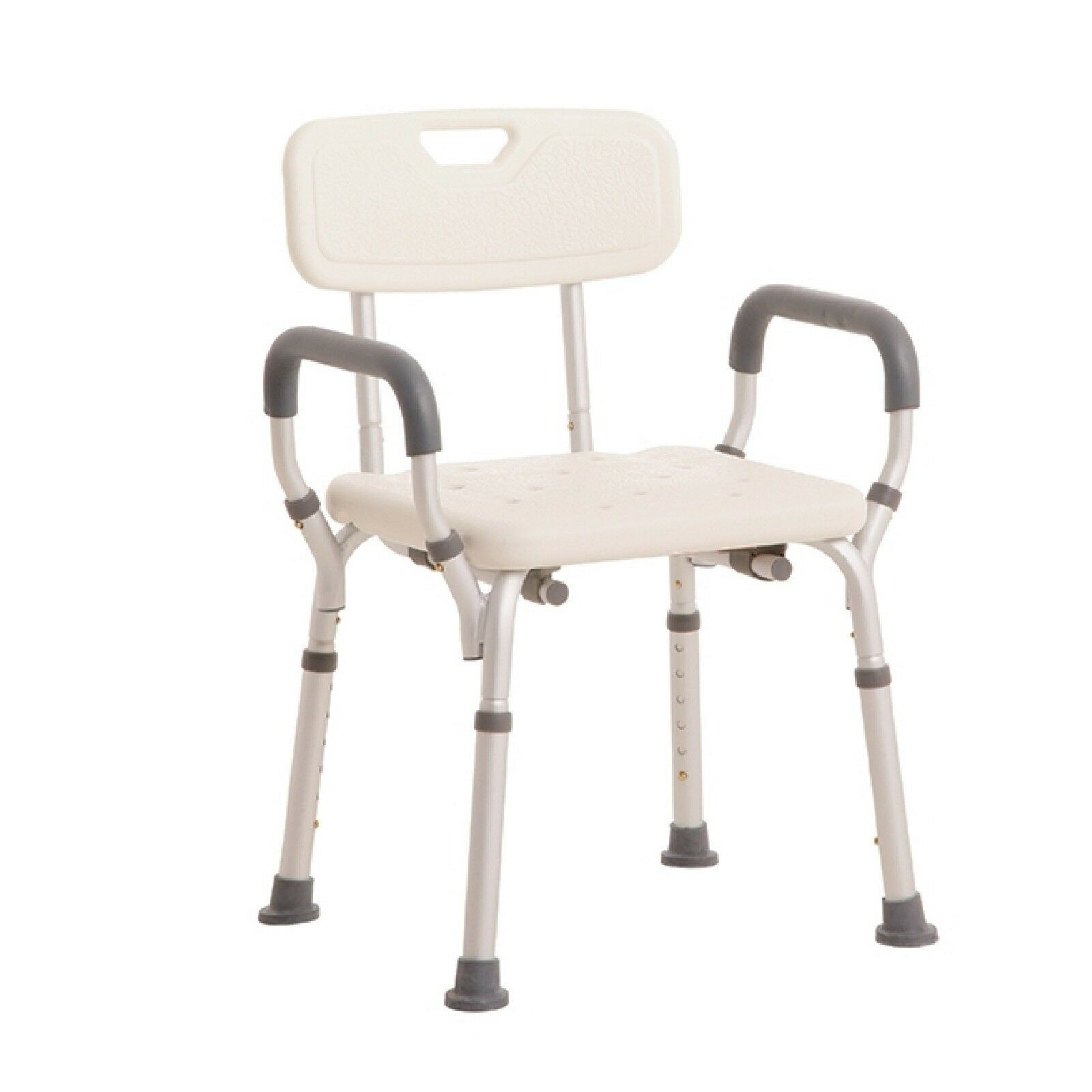 Mle Height Adjustable Shower Chair Aluminium Bathroom Aid With Back Arms