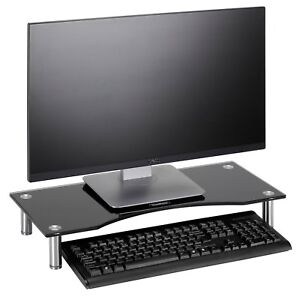 VonHaus Black Curved Glass Monitor Mount Computer Display Riser Small TV Stand 5060192524598