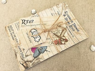 Sample Diy Rustic Twine Alice In Wonderland Shabby Chic Wedding Invitations Ebay