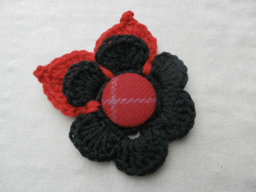 15cm handcrochet Clásico Flor Corsage con Grueso Hojas Harris Tweed botón