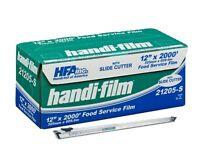 Handi-film 12x2000' Plastic Food Service Film Cling Wrap W/safety Slide Cutter