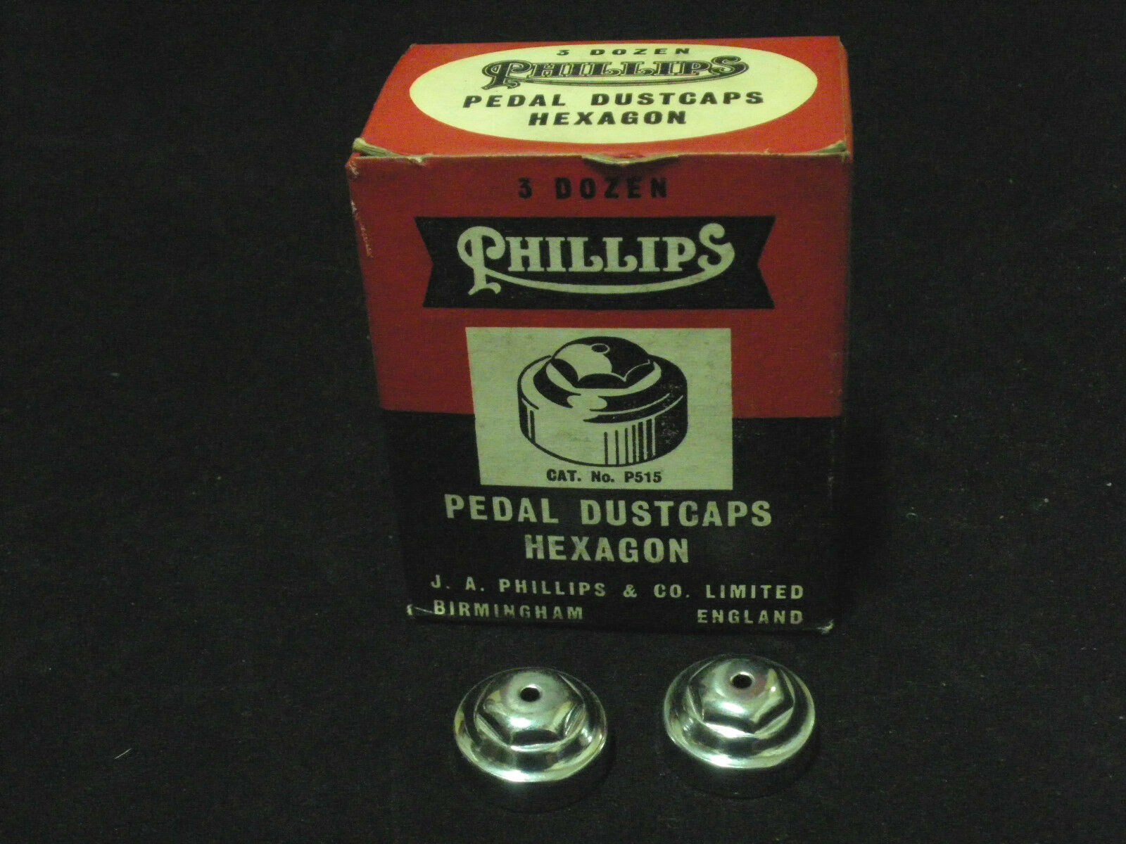 Vintage RALEIGH and PHILLIPS bicycle pedal dustcaps pair NOS