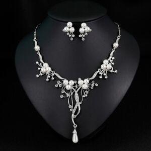 Halskette-Collier-Perlen-Ohrringe-Schmuckset-Kristall-Strass-Damen-Schmuck-Braut