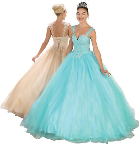 QUINCEAÑERA MASQUERADE BALL ROOM GOWN PROM SWEET 16 CINDERELLA GALA DRESS SALE