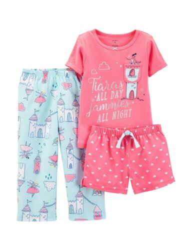 New Carter/'s 3-Piece Tiaras All Day Castle Pajama Set Toddler Girls 3 4