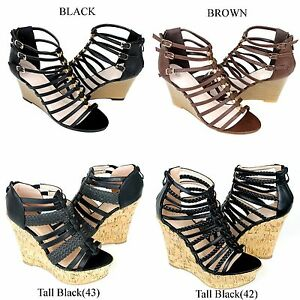 NEW-Women-039-s-Cork-Wedge-Platform-Strappy-Gladiator-High-Heel-Shoes-Sandals