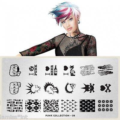 MoYou London PUNK 8 Collection Stamping Schablone, Totenkopf Kreuz Leopard