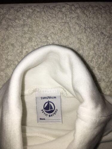 T shirt sous pull col roulé garçon Petit bateau coton 2 ans blanc