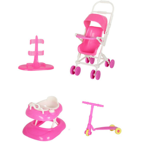4PCS Doll Accessories Set Baby Stroller Walker Scooter Doll Stand for Girls Toy