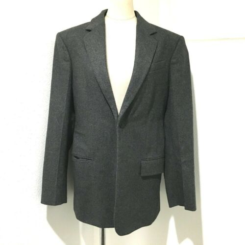 CELINE Tailored Leather Suit Jacket wool gray