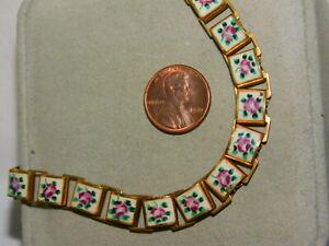 Vintage-Enamel-Flower-Link-15-034-Book-Chain-Gold-tone-Necklace-3h-53