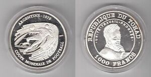 CHAD-SILVER-PROOF-1000-FRANCS-COIN-2002-YEAR-KM-22-ARGENTINA-WORLD-CUP-1978