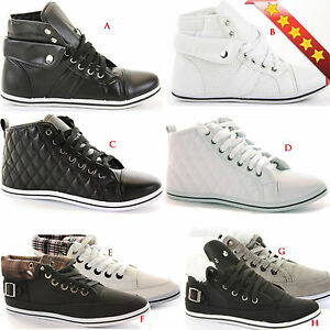 LADIES-HIGH-HI-TOP-GIRLS-FLAT-LACE-UP-SPORTS-WOMENS-PUMPS-TRAINERS-SHOES-SIZE