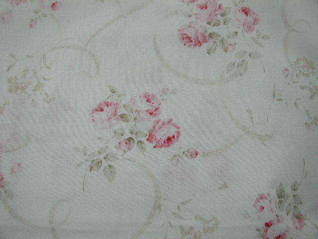 Mary Rose 3 Furling Ribbons Faded Pink Cabbage Roses on White HTF MRH 151109-1