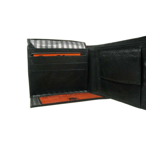 Mens Soft Black Real Leather Credit Card Holder//ID /& Coin Section Wallet 126